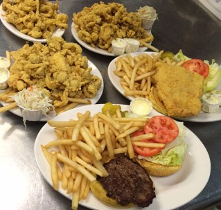 Variety of Seafood Plates at Dubes Restaurant